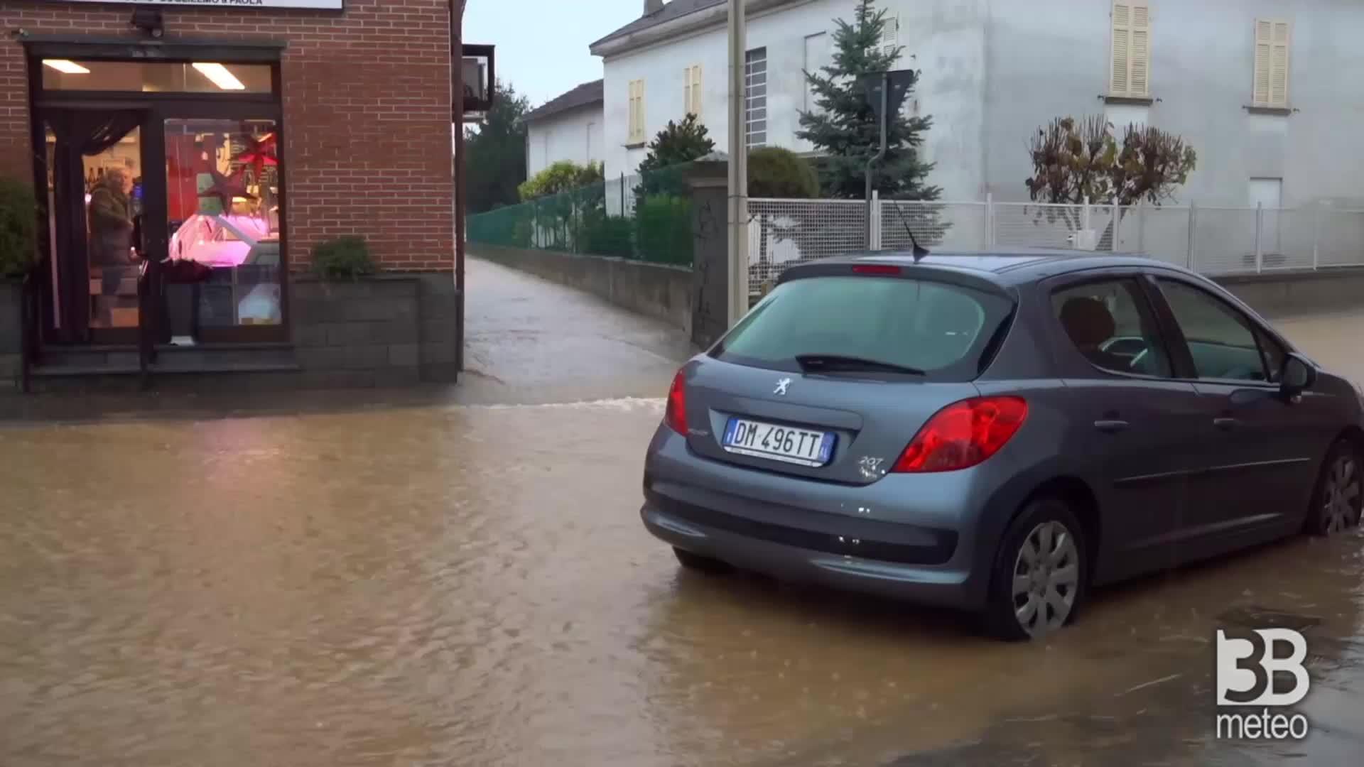 CRONACA MALTEMPO DIRETTA PIEMONTE rischio alluvione, allagamenti in provincia di Alessandria.