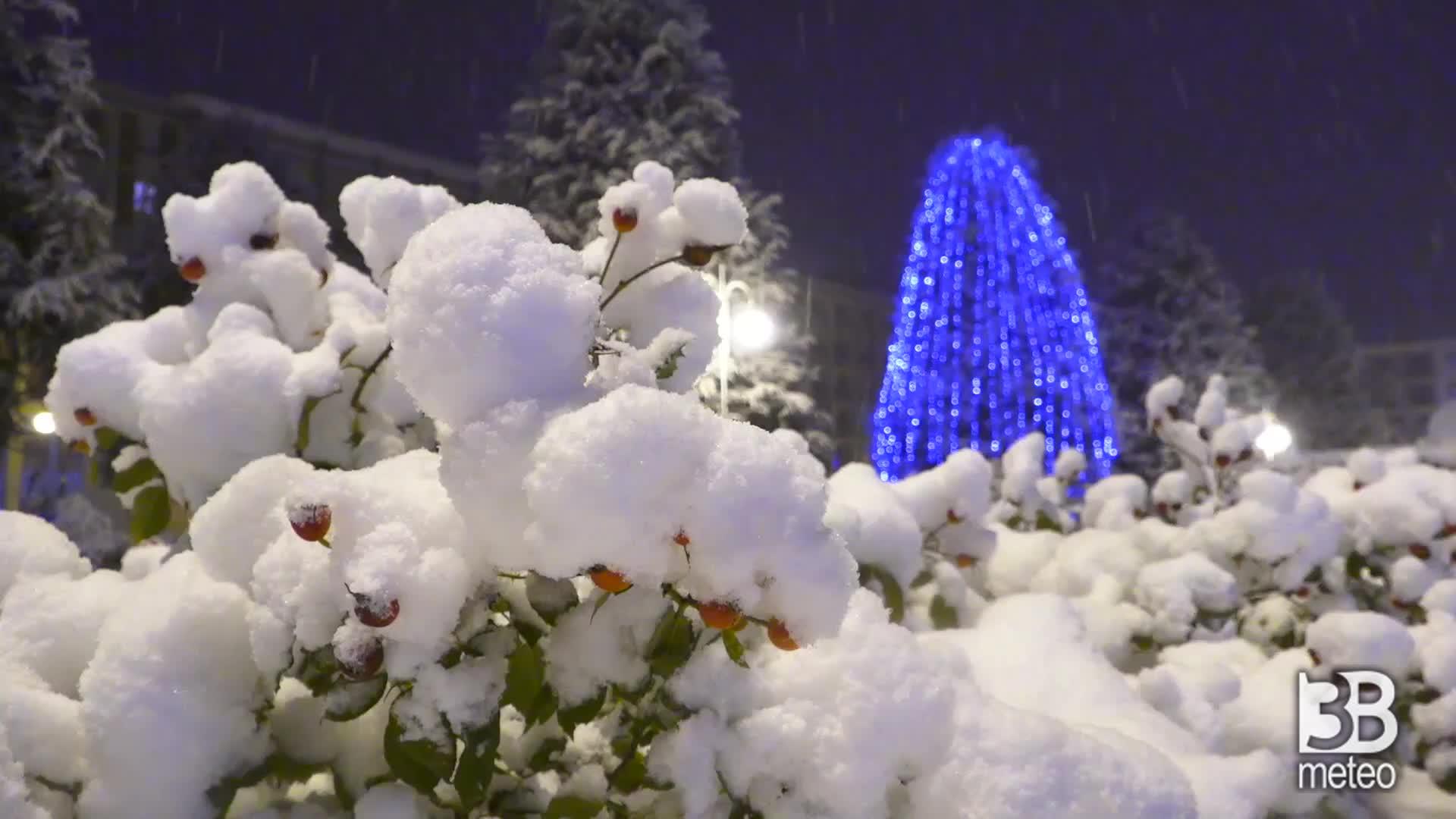Cuneo sotto la neve ore 21