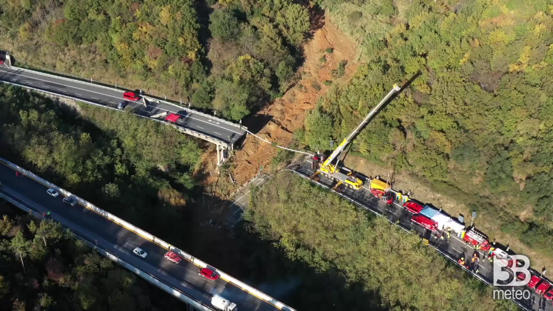 MALTEMPO LIGURIA: crollo viadotto sulla A6, le immagini del drone