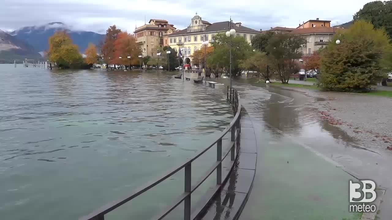 Maltempo: il lago Maggiore esonda a Verbania, VIDEO