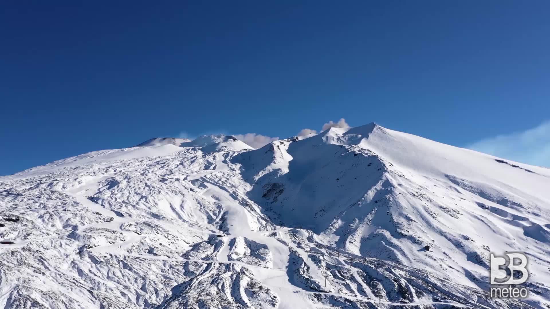 Immagine 1:NEVE e scenari invernali sull ETNA; CRONACA METEO del MALTEMPO di ieri