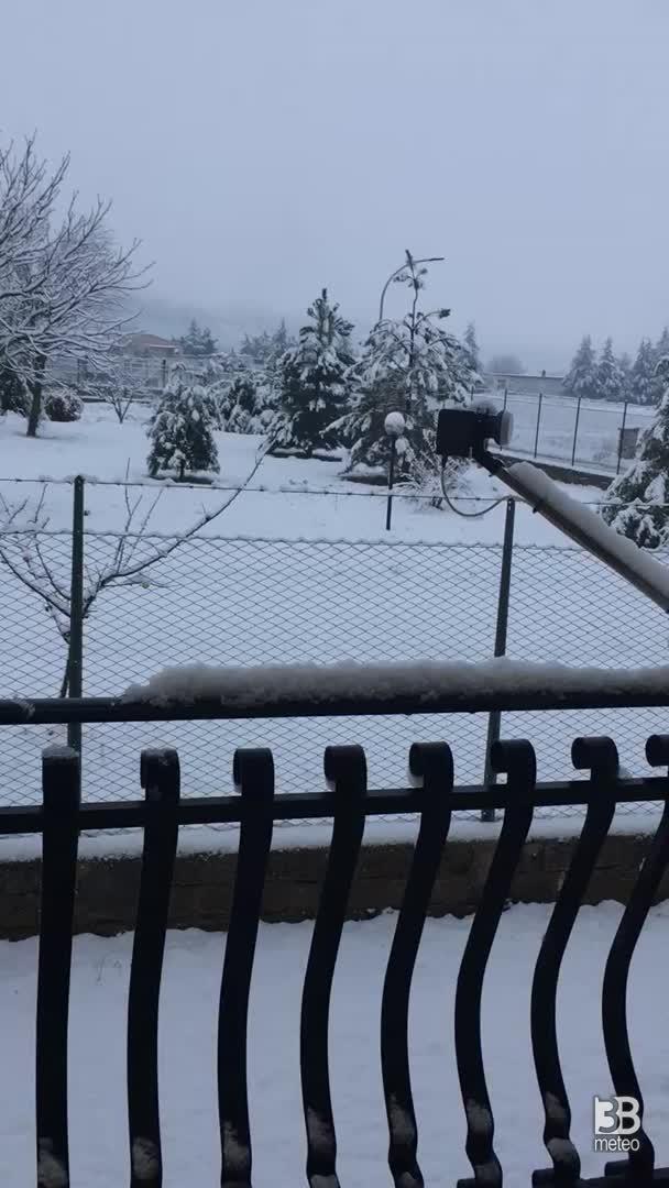 Cronaca meteo video. Prima neve del 2021 a Trasacco