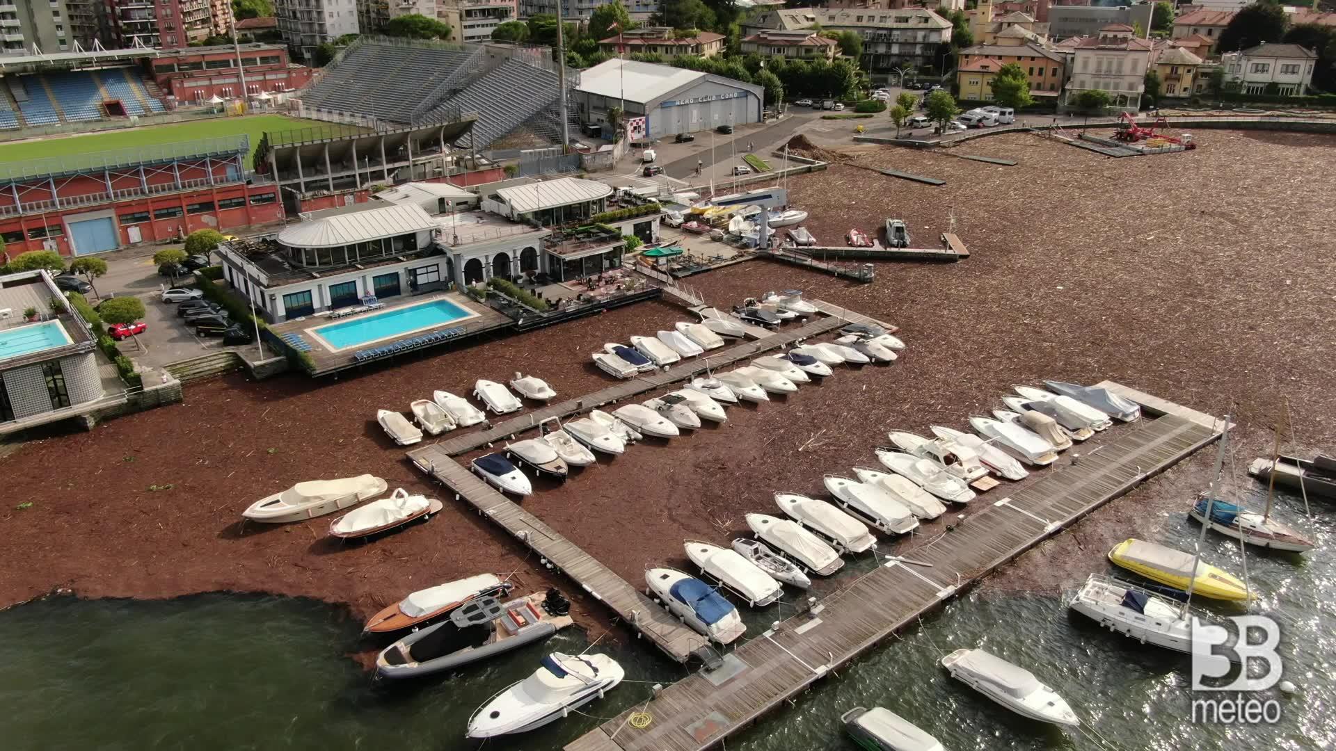 Detriti allo yacht club di Como : Le immagini dal drone