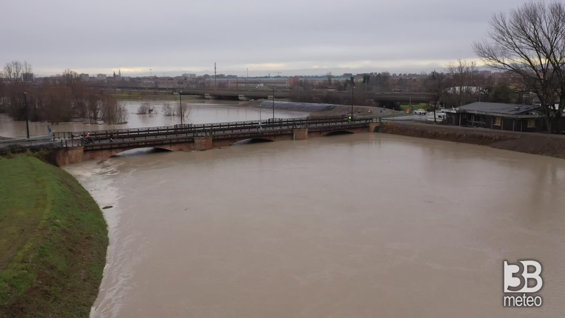 Maltempo, allerta fiume Secchia: le immagini dal drone