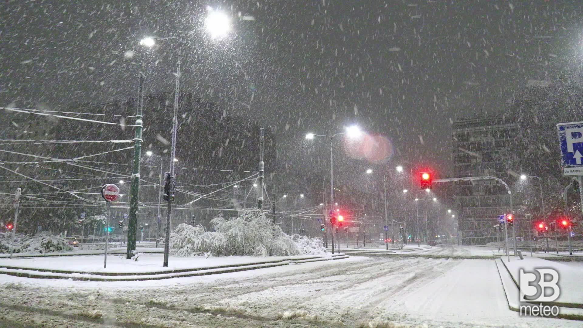 La nevicata del 28 dicembre: Milano, la fase più intensa